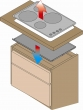 Hitzeschutzboden für Elektro-Kochfelder / Schubladen 90er